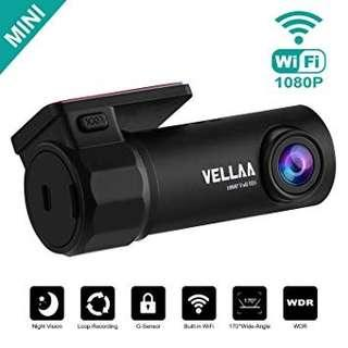 [E597]VELLAA Car Dash Cam, Mini Car Camera Built-in WiFi Full HD 1080P 170° Wide Angle Lens Dashcam G-Sensor Super Night Vision Driving Video Recorder, Loop Recording, Parking Monitoring
