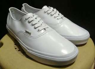 Authentic vans white shoes leather mens low cut sneakers