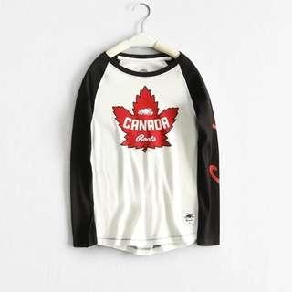 🚚 Roots加拿大🇨🇦中大童純棉長袖T恤 斷碼特價