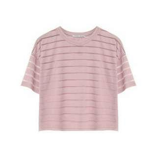 🚚 SuperColor 恬靜舒適網紗不修邊短版上衣(粉紅)