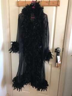 Elegant feather trim robe