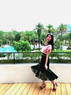 🚚 氣質蕾絲黑長裙(不含腰帶)