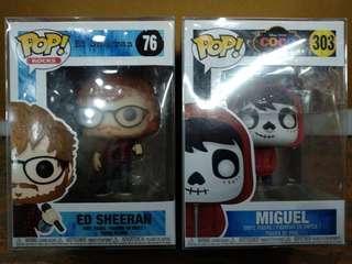 Funko Pop Ed Sheeran (Pop Rocks) and Miguel (Coco Disney Movie) Lot