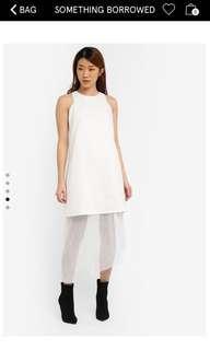 Zalora White Mesh Cut In Layered Midi Asymmetric  Dress