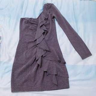 紫色單邊長袖荷葉造型洋裝 晚禮服