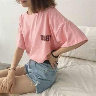 🚚 1987粉色寬版上衣T-shirt