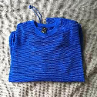 Blue mesh top