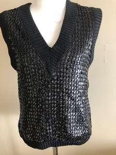 Oscar de la Renta black sequin top, size 8