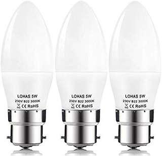 [E603] Lohas Non Dimmable C37 5W B22 Bayonet LED Candle Bulbs,40W Incandescent Bulb Equivalent,480lm,Warm White,Candle Light Bulbs,Pack of 3 Units