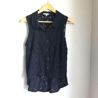 Black lacey sleeveless top