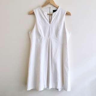 Cue White Cotton Fit and Flare Dress