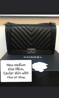 f793d4ab42c1 LOOKING FOR Chanel Chevron Boy in Caviar with RHW or SHW in new medium size