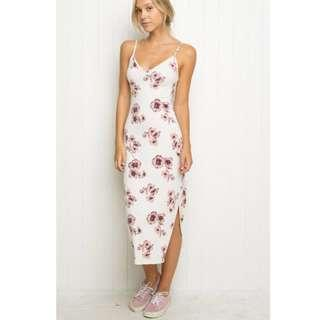 Brandy Melville Aliza Dress in White/Pink Floral
