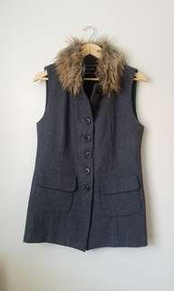 Grey Wool Vest with Fur