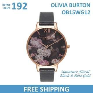 Olivia Burton Ladies Watch Signature Floral Black & Rose Gold OB15WG12