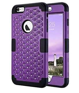 (1360) iPhone 6 Plus Case, iPhone 6s Plus Case, Heavy Duty High Impact Resistant Hybrid Hard PC Soft Silicone Protective Case for iPhone 6 Plus and iPhone 6s Plus, 5.5 inch, Purple/Black Bling