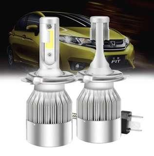 (1363) Mesllin C6 H4 LED Headlight Kit High Low Beam 120W 20000LM 6000K Cool White Super Bright COB Chip Bulbs Lamps