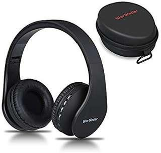 [E615] Wireless Bluetooth Over Ear Stereo Foldable Headphones,Wireless and Wired Mode Headsets with Soft Memory-Protein Earmuffs,Built-in Mic for Mobile Phone TV PC Laptop(Black)