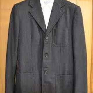 Prada 羊毛灰色短大衣 西裝休閒外套 balmain balenciaga slp lv bv lanvin gucci givenchy thom browne