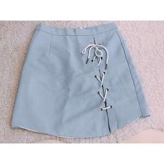 Lace up blue skirt