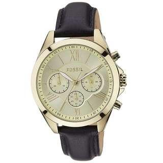 Fossil Women's Gold Leather Strap Watch BQ1753
