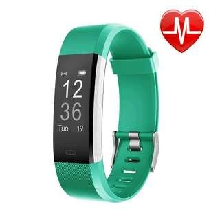 [E621] LETSCOM Fitness Tracker HR, Activity Tracker Watch with Heart Rate Monitor, Waterproof Smart Fitness Band with Step Counter, Calorie Counter, Pedometer Watch for Kids Women and Men  (Black and green)