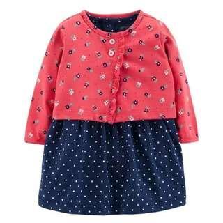 🆕💯(BNWT) Carter's 2-Piece Bodysuit Dress & Cardigan Set