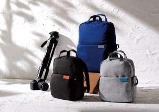 ELECOM OFF TOCO 藍色帆布多功能後背包S035 相機背包電腦袋 行山背囊 camera bag laptop computer backpack rucksack hiking gear