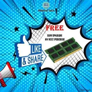📣 FREE RAM UPGRADE 📣 FREE RAM UPGRADE 📣 FREE RAM UPGRADE