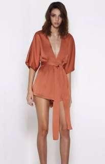 Satin wrap jumpsuit orange size m