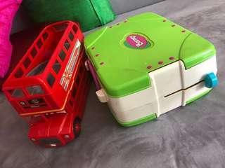 Bundle deal tomica McQueen double decker slide Bus Barney