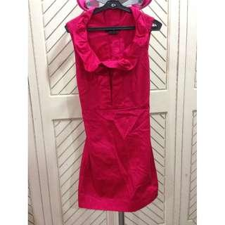 Pink Red Office Sleeveless Dress