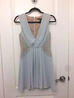 BCBG MAXAZRIA light blue dress with nude lace inserts and deep v neckline, size 4