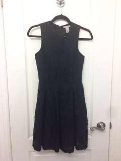 H&M dark navy sleeveless dress with floral detail, size 4