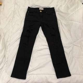 Stradivarious black ripped jeans