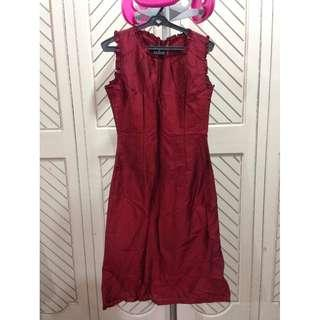 Maroon Satin Sleeveless Dress