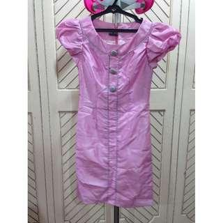 Pink Dress with Grey Buttons Satin