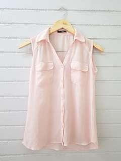 Baby Pink Button Down Sleeveless