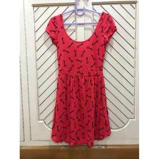Red Skater Printed Dress Keys Design Forever 21