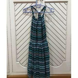 Tribal Printed Halter Dress Chiffon Summer Dress