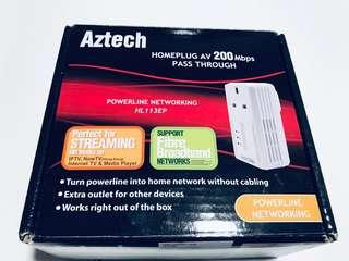 Cheap and New Aztech AV Home Plug 200Mbps Ethernet Adapter with Wireless and Ethernet Powerline Networking