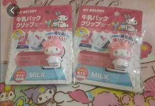 🇯🇵日本全新現貨美樂蒂牛奶.果汁.飲料紙盒密封夾.保鮮夾