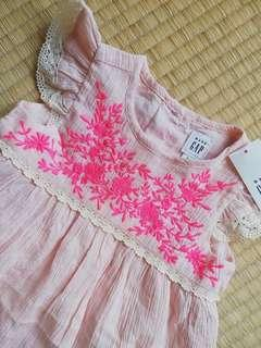 BNWT Baby Gap Girl Pink Embroidery Dress
