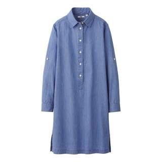 UNIQLO DENIM SHIRT LONG SLEEVE DRESS