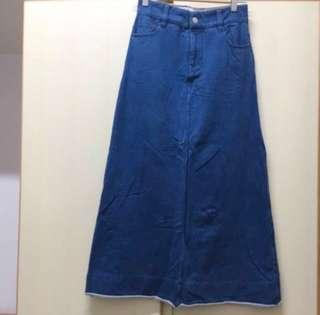 Global Work Collect Point Japan blue long skirt dress 日牌 日本 藍色 牛仔 綿質 長裙 裙子