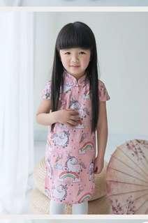 🚚 Instock girl unicorn rainbow Cheongsam 80-120 kid children qipao