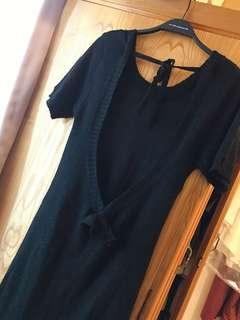 🚚 黑色大露背素面圓領針織上衣