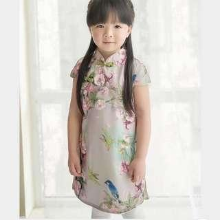 Flower Painting w Bird Cheongsam Qipao for girls kids [PO] / Pretty Cheongsam for CNY