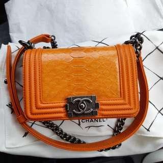 Boy Chanel in Orange Phyton Skin with RHW #XMAS25
