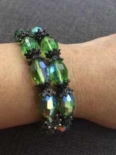 14.) 2 pcs green crystal bracelet